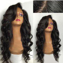 Long Deep Side Parting Loose Wave Human Hair Lace Front Wig -
