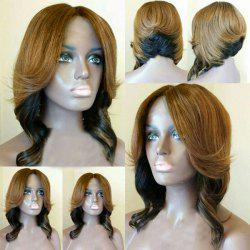 Short Middle Part Layered Wavy Feathered Bob Synthetic Wig -