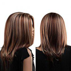 Center Parting Medium Highlighted Straight Bob Synthetic Wig -