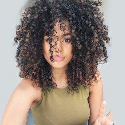Medium Side Bang Fluffy Colormix Afro Curly Synthetic Wig - BLACK AND GOLDEN