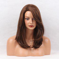 Side Parting Medium Layered Natural Straight Synthetic Wig - Brun