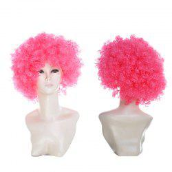 Short Fluffy Afro Curly Clown Fans Carnival Party Wig - Rose Foncé