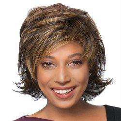 Short Side Bang Fluffy Tail Upwards Natural Straight Human Hair Wig -