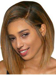 Short Side Parting Straight Bob Colormix Human Hair Wig -