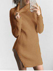 Slit Turtleneck Chunky Knit Sweater - KHAKI S