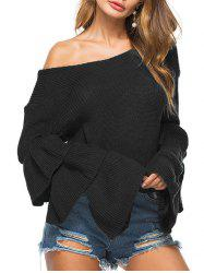 Convertible Neck Knit Bell Sleeve Sweater -
