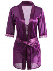 Sheer Lace Teddy with Wrap Dress -
