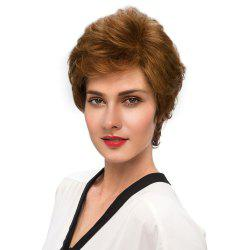 Short Side Bang Fluffy Slightly Curly Human Hair Wig -