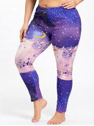 Plus Size  Galaxy Printed Christmas Slim Leggings -