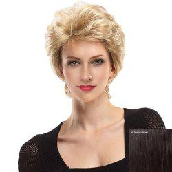 Short Side Bang Fluffy Slightly Curly Lace Front Human Hair Wig - MEDIUM BROWN