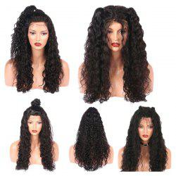 Long Free Part Fluffy Water Wave Lace Front Real Human Hair Wig - NATURAL BLACK