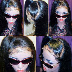 Free Part Medium Straight Lace Front Real Human Hair Wig -
