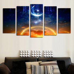 Moon Stars Night Sky Printed Unframed Split Canvas Paintings -
