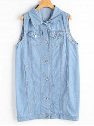 Plus Size Long Light Wash Denim Vest Jacket -