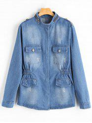 Zip Up Blend Wash Plus Size Denim Jacket - Denim Bleu 4XL