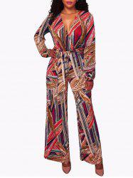 Plunge Printed Long Sleeve Jumpsuit - COLORMIX S
