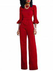 Flare Sleeve Waisted Jumpsuit - Rouge M