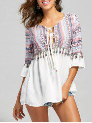 Tassel Trimmed Tribal Print Tunic Blouse -