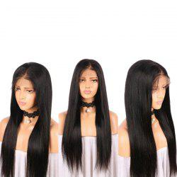Middle Part Long Straight Lace Front Real Human Hair Wig -