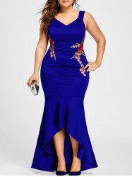 Plus Size Sleeveless V Neck Mermaid Dress - ROYAL 2XL