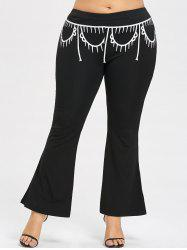 Casual Plus Size Print Flare Pants -