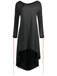 Asymétrique Plus Size Lace Up Tunic Top -