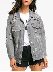 Stitching Ripped Denim Jacket - GRAY M