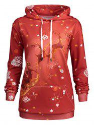 Plus Size Kangaroo Pocket Christmas Deer Hoodie -