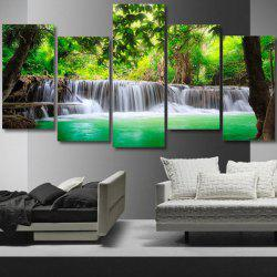 Trees Waterfall Printed Unframed Canvas Paintings -