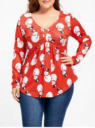 Christmas Snowman Plus Size Ruched T-shirt -
