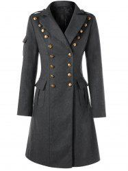 Lapel Collar Back Lace Up Double Breasted Coat -