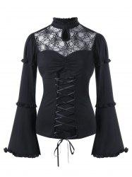Halloween Sheer Lace Up Flare Sleeve Top -