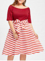 Stripe Plus Size Christmas Party Knee Length Dress