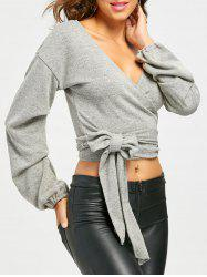 Puff Sleeve Plunging Neckline Crop Wrap Sweater -