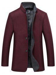 Grandad Collar Coat with Side Pockets -