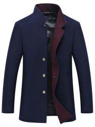 Button Up Mandarin Collar Wool Blend Coat -