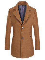 Single Breasted Lapel Collar Wool Mix Coat -