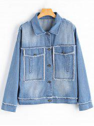 Frayed Plus Size Vintage Denim Jacket -