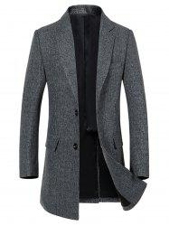 Flap Pocket Single Breasted Lapel Heathered Coat -