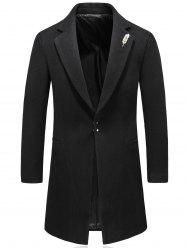 Feather Brooch Hook Button Wool Blend Coat -