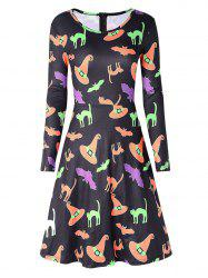 Halloween Bat Hat Print Swing Dress -