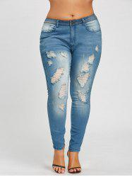 Slim Fit Plus Size Ripped Jeans -