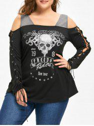 Halloween Plus Size Open Shoulder Lace Up Top -