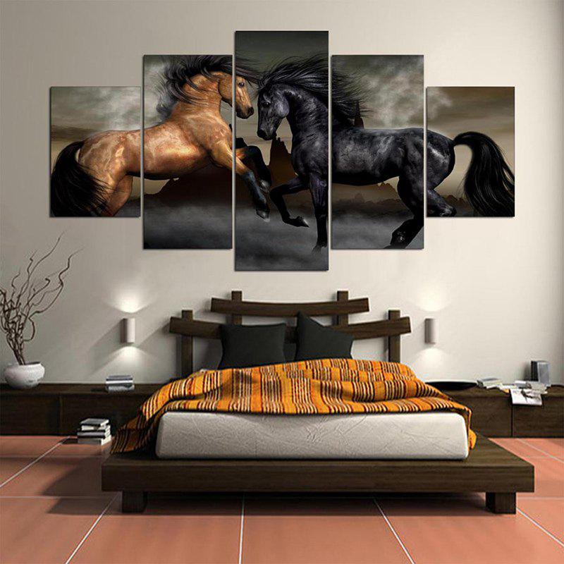 Horses Printed Unframed Canvas Wall Art PaintingsHOME<br><br>Size: 1PC:8*20,2PCS:8*12,2PCS:8*16 INCH( NO FRAME ); Color: COLORFUL; Subjects: Animal; Product Type: Art Print; Features: Decorative; Style: Fashion; Hang In/Stick On: Bathroom,Bedrooms,Cafes,Hotels,Kids Room,Kitchen,Living Rooms,Lobby,Offices,Stair; Form: Five Panels; Frame: No; Material: Canvas; Package Contents: 1 x Canvas Paintings (Set);