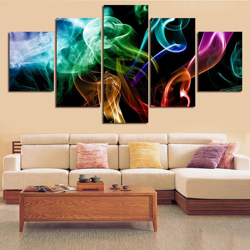 Sale Colorful Smoke Printed Split Unframed Canvas Paintings