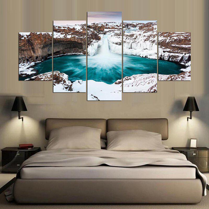 The Deep Lake Print Unframed Split Canvas PaintingHOME<br><br>Size: 1PC:8*20,2PCS:8*12,2PCS:8*16 INCH( NO FRAME ); Color: COLORFUL; Subjects: Landscape; Features: Decorative; Hang In/Stick On: Bathroom,Hotels,Living Rooms,Offices,Stair; Shape: Horizontal; Form: Five Panels; Frame: No; Material: Canvas; Package Contents: 1 x Canvas Painting (Set);