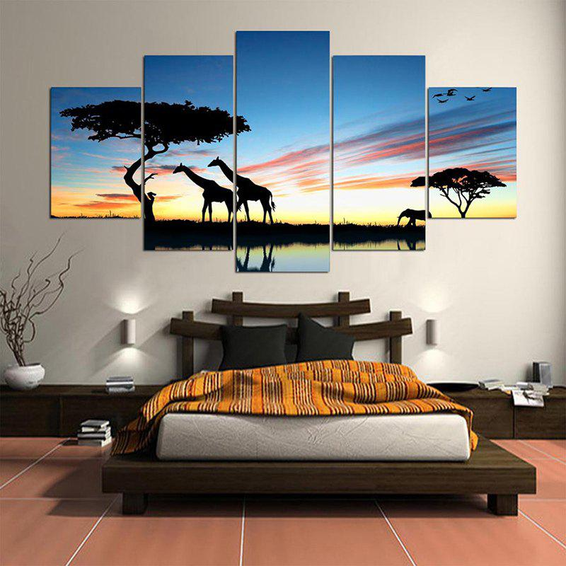 Giraffes Africa Grassland Pattern Canvas Paintings