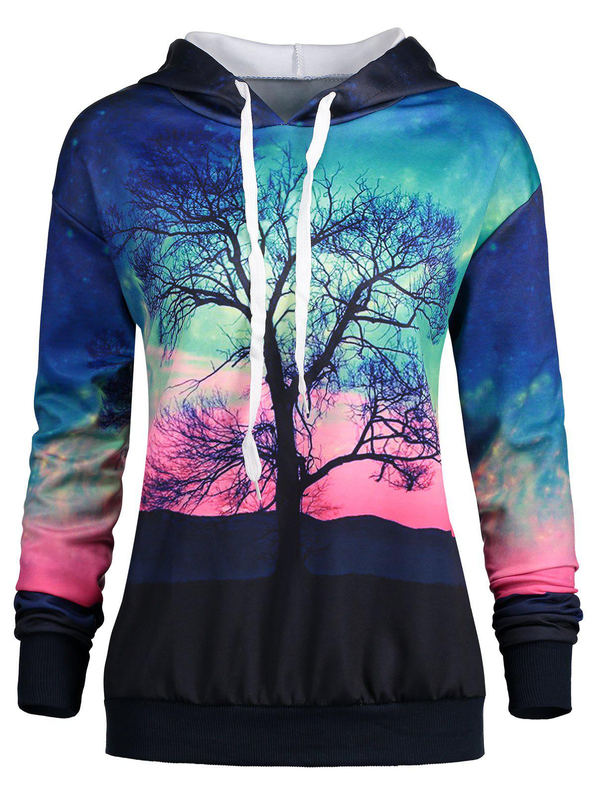 Latest Drawstring Tree and Galaxy Print Hoodie