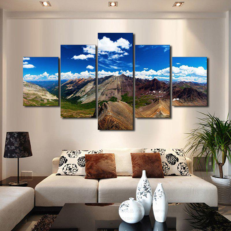 Mountains Pattern Unframed Canvas PaintingsHOME<br><br>Size: 1PC:12*31,2PCS:12*16,2PCS:12*24 INCH( NO FRAME ); Color: COLORMIX; Subjects: Landscape; Features: Decorative; Hang In/Stick On: Bathroom,Bedrooms,Cafes,Living Rooms; Form: Five Panels; Frame: No; Material: Canvas; Package Contents: 1 x Canvas Paintings (Set);