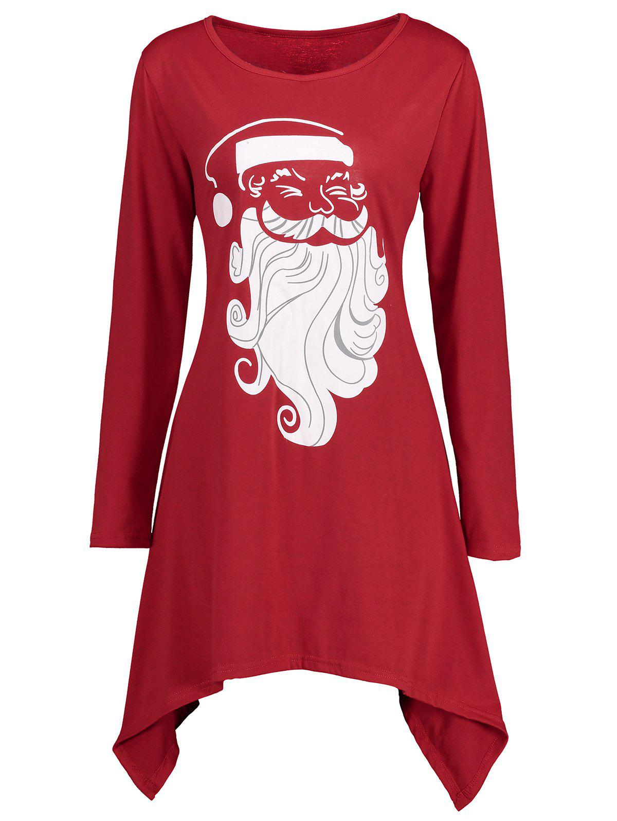Christmas Santa Claus Asymmetrical Longline TeeWOMEN<br><br>Size: L; Color: RED; Material: Cotton,Polyester; Shirt Length: Long; Sleeve Length: Full; Collar: Round Neck; Style: Casual; Pattern Type: Print; Season: Fall,Spring; Weight: 0.3500kg; Package Contents: 1 x T-shirt;